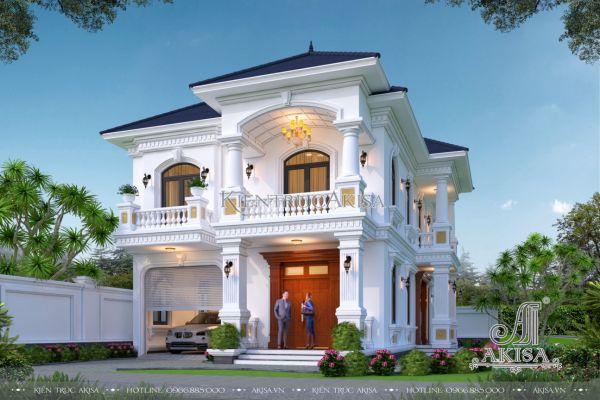 Mẫu biệt thự tân cổ điển 2 tầng 160m2 (CĐT: ông Tín - Ninh Thuận) BT22449