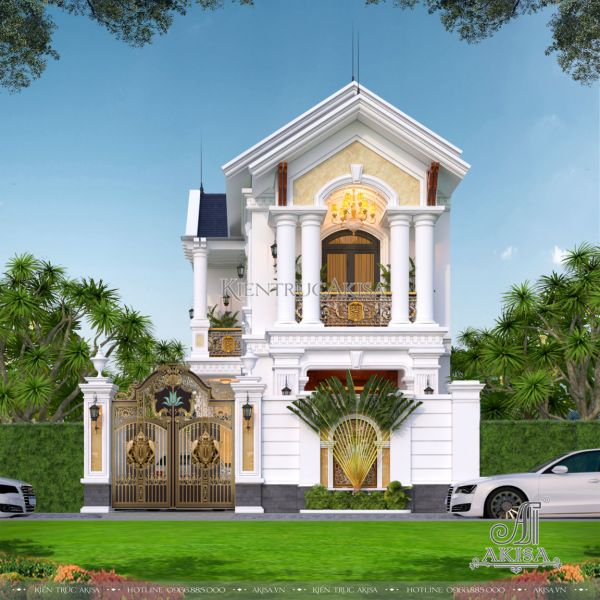 Mẫu biệt thự phố 2 tầng tân cổ điển đẹp kiểu mái Thái (CĐT: bà Ngân - Hải Phòng) KT22451