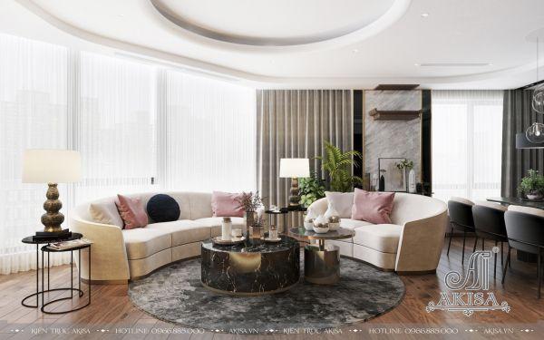 Thiết kế nội thất phòng khách chung cư đẹp (CĐT: ông Chí - Hồ Chí Minh) NT21081
