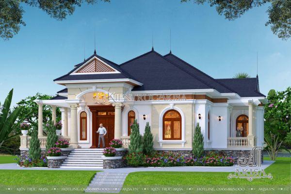 Vẻ đẹp biệt thự nhà vườn tân cổ điển 1 tầng 300m2 (CĐT: ông Minh - Cà Mau) BT12456