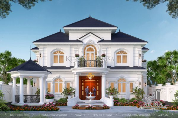 Mẫu biệt thự 2 tầng phong cách châu Âu nhà vườn diện tích 230m2 (CĐT: bà Luận - Lâm Đồng) BT22457