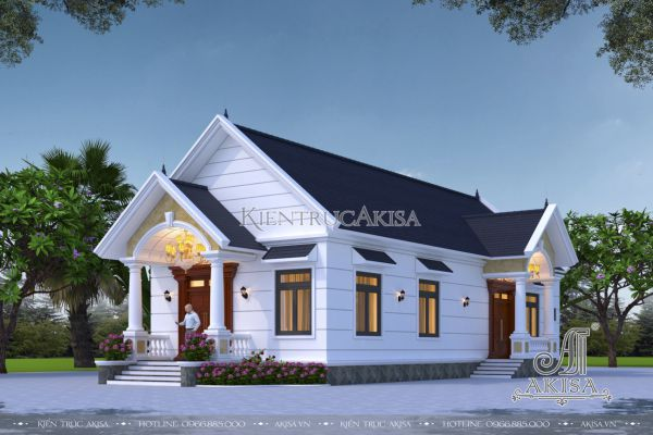 Thiết kế nhà biệt thự mini 1 tầng mái thái phong cách tân cổ điển đẹp (CĐT: ông Hùng - Tây Ninh) BT12460