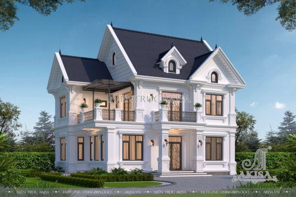 Thiết kế biệt thự tân cổ điển đẹp 2 tầng 1 tum (CĐT: ông Thành - Quốc Oai) BT22462