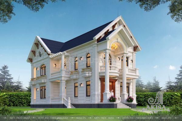 Bản thiết kế nhà biệt thự 2 tầng tân cổ điển mái Thái mặt tiền 9m (CĐT: ông Mai - Nam Định) BT22463