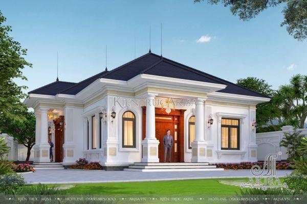 Mẫu thiết kế biệt thự 1 tầng tân cổ điển đẹp 14m mặt tiền (CĐT: ông Nam - Hải Phòng) BT12464