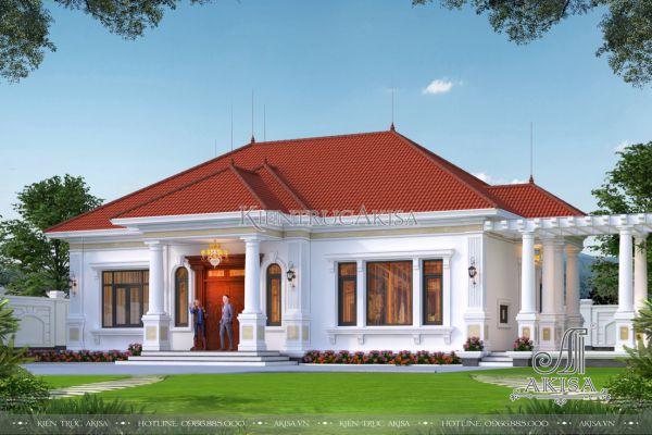 Thiết kế biệt thự nhà vườn 1 tầng tân cổ điển Pháp 3 phòng ngủ tiện nghi (CĐT: ông Chí - Hòa Bình) BT12465