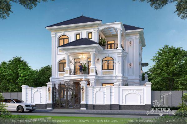 Thiết kế biệt thự 3 tầng tân cổ điển 5 phòng ngủ đẹp (CĐT: ông Vân - Quốc Oai) BT32467