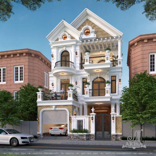 Mẫu biệt thự phố tân cổ điển 3 tầng mái Thái đẹp (CĐT: ông Tuấn - Thái Bình) BT32472