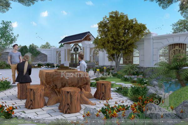 Thiết kế sân vườn đẹp cho biệt thự 3 tầng (CĐT: bà Ngân - Hải Phòng) SV32370
