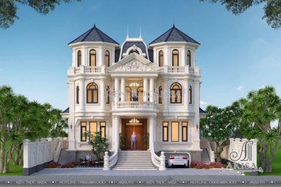 Thiết kế lâu đài dinh thự đẹp kiểu Pháp (CĐT: ông Nguyên - Vĩnh Phúc) BT32477