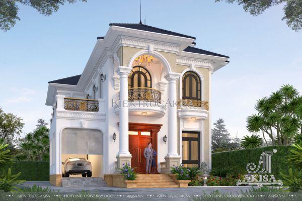 Thiết kế nhà 2 tầng tân cổ điển mái Nhật đẹp với 4 phòng ngủ (CĐT: bà Liễu - Bình Phước) BT22478