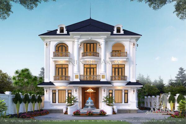 Thiết kế biệt thự 3 tầng phong cách tân cổ điển (CĐT: ông Kiên - Hải Dương) BT32479