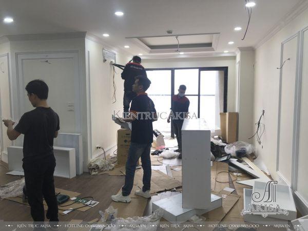 Thiết kế & Giám sát thi công nội thất chung cư tân cổ điển (CĐT: ông Tuân - Hà Nội) TC22078