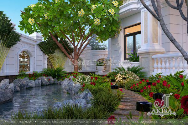 Mẫu tiểu cảnh sân vườn trước nhà biệt thự (CĐT: ông Tùng - Thái Nguyên) SV22326