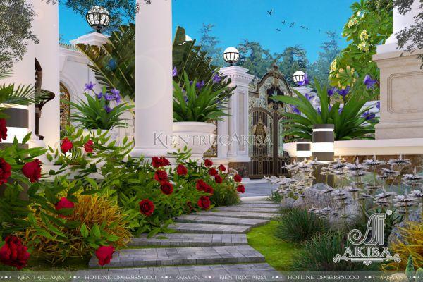 Thiết kế tiểu cảnh sân vườn biệt thự đẹp (CĐT: ông Vững - Đồng Nai) SV22434