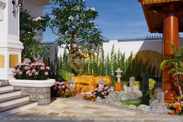 Thiết kế sân vườn biệt thự đẹp theo phong thủy (CĐT: ông Thiện - Vũng Tàu) SV22418