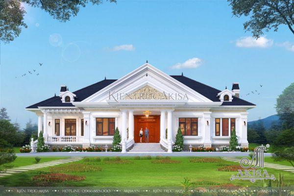 Mẫu thiết kế biệt thự nhà vườn 1 tầng tân cổ điển 5 phòng ngủ đẹp (CĐT: ông Đức - Hưng Yên) BT12484