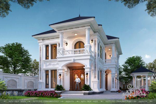 Mẫu biệt thự nhà vườn đẹp 2 tầng kiến trúc tân cổ điển (CĐT: ông Việt - Vũng Tàu) BT22485
