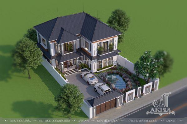 Thiết kế biệt thự vườn 2 tầng hiện đại mái Nhật (CĐT: ông Tuyến - Hưng Yên) BT21488