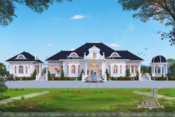 Thiết kế biệt thự nhà vườn 1 tầng tân cổ điển châu Âu (CĐT: ông Học - Móng Cái) BT12491