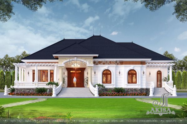 Mẫu biệt thự nhà vườn 1 tầng tân cổ điển tại Đắk Lắk mặt tiền 25m (CĐT: ông Khiêm -  Đắk Lắk) BT12496