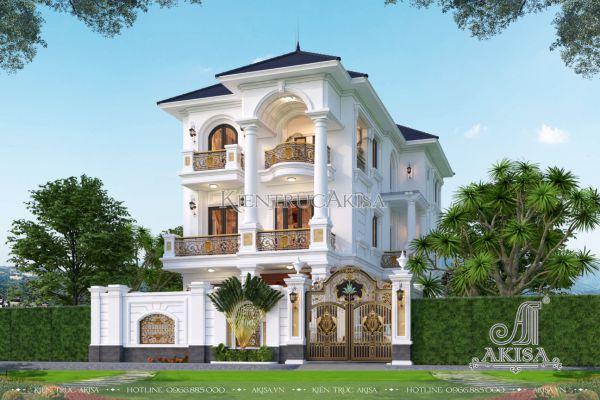 Mẫu biệt thự đẹp tân cổ điển 3 tầng mặt tiền 10m (CĐT: ông Dũng - Phú Thọ) BT32497