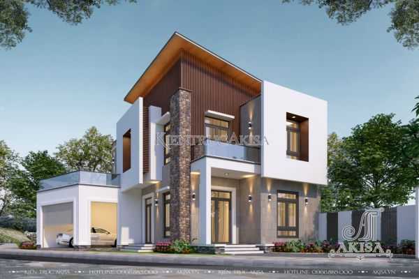 Thiết kế biệt thự hiện đại 2 tầng mái lệch (CĐT: ông Tuấn - Nam Định) BT21507