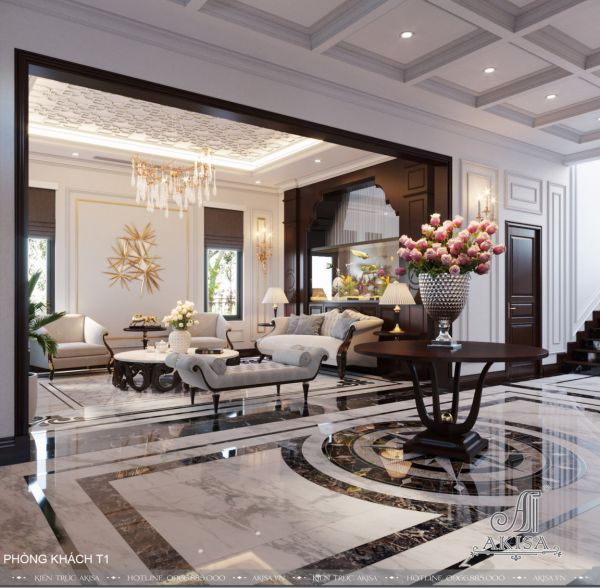 Mẫu thiết kế nội thất tân cổ điển ấn tượng (CĐT: ông Minh - Quảng Trị) NT22494