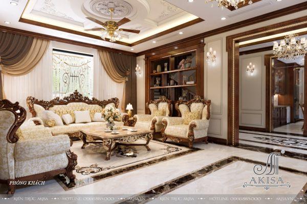 Thiết kế nội thất biệt thự 3 tầng tân cổ điển đẳng cấp (CĐT: ông Toản - Hưng Yên) NT32435