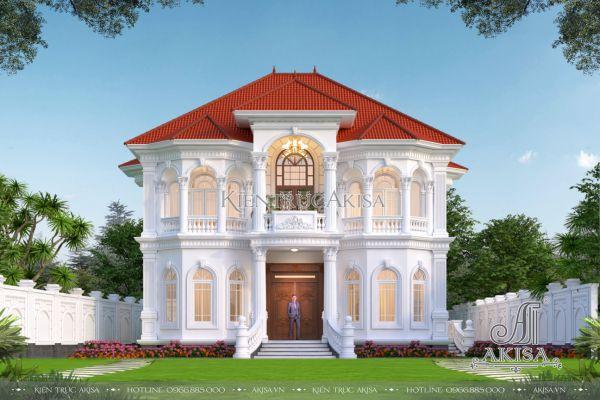 Mẫu biệt thự 2 tầng kiểu châu Âu mặt tiền 12m đẹp mãn nhãn (CĐT: ông Hưng - Huế) BT22527