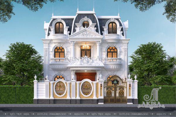 Mẫu biệt thự tân cổ điển 2 tầng 1 tầng áp mái đẹp đẳng cấp (CĐT: ông Hoa - Nghệ An) BT22530