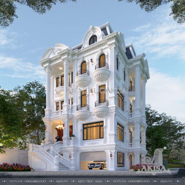 Mẫu biệt thự tân cổ điển 4 tầng kiểu Pháp (CĐT: bà Vân - Hòa Bình) BT42539
