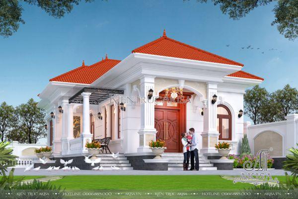 Thiết kế nhà 1 tầng 3 phòng ngủ kiến trúc tân cổ điển (CĐT: ông Long - Hải Dương) BT12536