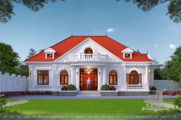Mẫu nhà biệt thự đẹp 1 tầng tân cổ điển (CĐT: bà Phương - Phú Thọ) BT12535
