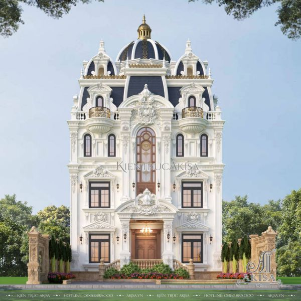 Thiết kế biệt thự cổ điển Pháp 4 tầng (CĐT: ông Tuấn - Hà Nam) BT43571