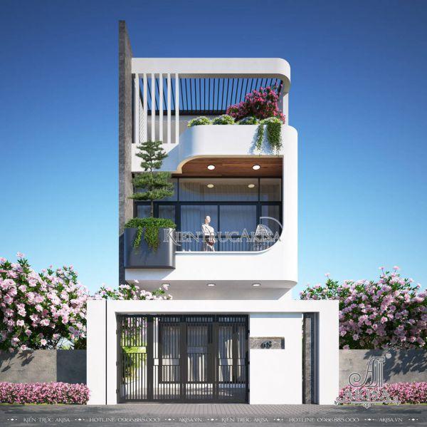 Thiết kế nhà phố 2 tầng 1 tum hiện đại (CĐT: ông Sơn - Nam Định) KT21572