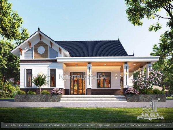 Thiết kế nhà cấp 4 hiện đại mái Thái đẹp (CĐT: bà Linh - Thái Bình) BT11573