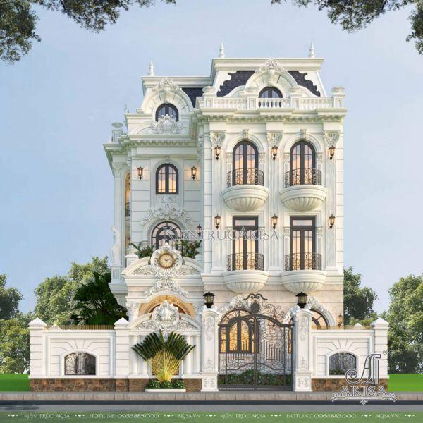 Thiết kế biệt thự cổ điển Pháp 3 tầng (CĐT: bà Loan - Quảng Nam) BT33584