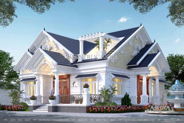 Biệt thự 1 tầng 2 phòng ngủ tân cổ điển mái Thái (CĐT: bà Hậu - Hà Nội) BT12587