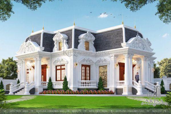 Thiết kế biệt thự 1 tầng phong cách cổ điển (CĐT: ông Đạt - Huế) BT13588