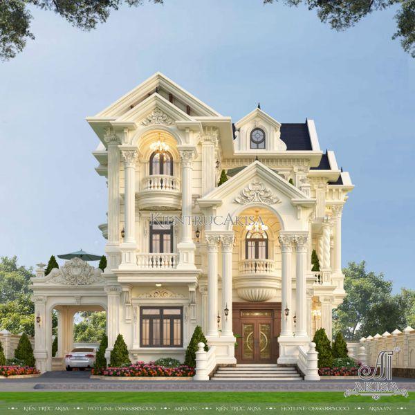 Mẫu biệt thự cổ điển 3 tầng mái Thái đẹp (CĐT: ông Hướng - Nam Định) BT33595