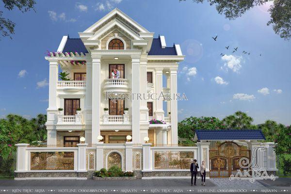 Thiết kế biệt thự tân cổ điển châu Âu 3 tầng đẹp (CĐT: ông Khải - Quảng Ninh) BT32090
