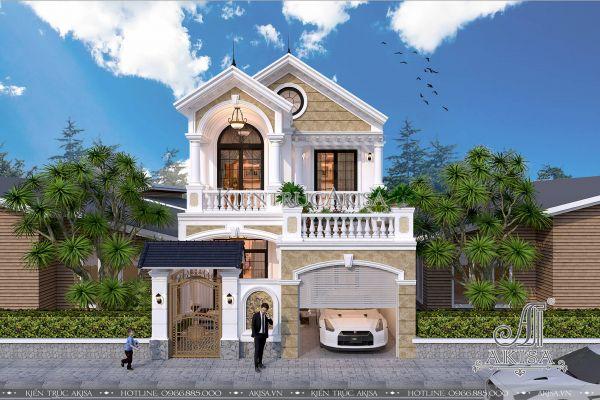Mẫu biệt thự tân cổ điển 2 tầng mái Thái mặt tiền 8m đẹp (CĐT: ông Hải - Bắc Ninh) BT22083