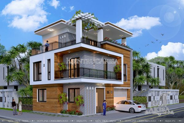 Thiết kế biệt thự nhà phố 3 tầng hiện đại đẹp (CĐT: bà Nga - Phú Thọ) BT31086