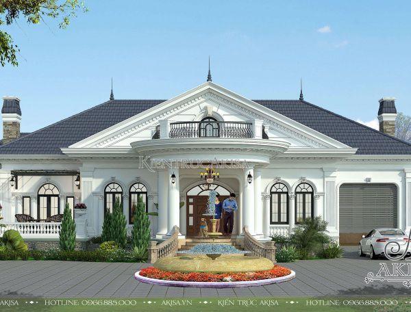 Thiết kế biệt thự 1 tầng phong cách Châu Âu nhà vườn đẹp tinh tế (ông Xuân - Bình Dương) BT12121