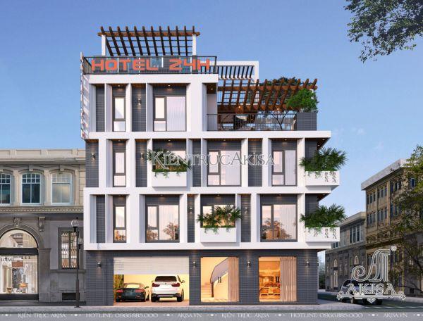 Thiết kế khách sạn hiện đại 4 tầng (CĐT: bà Nga - Phú Thọ) KT41011
