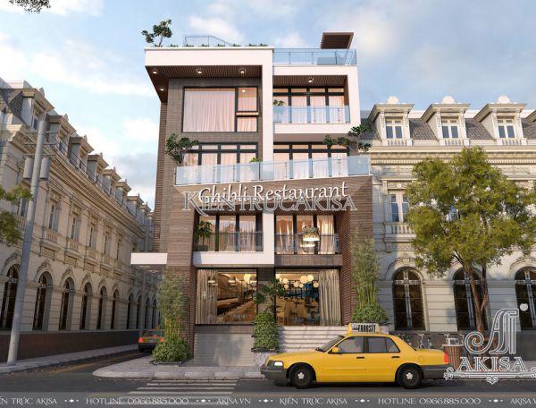 Thiết kế nhà hàng hiện đại 6 tầng đẹp (CĐT: bà Mai Anh - Sài Gòn) KT51148
