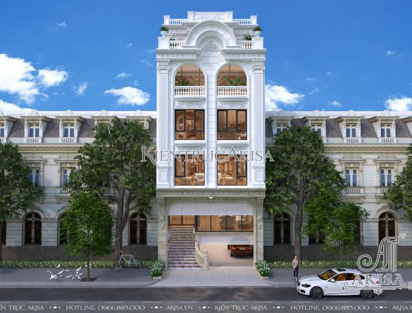 Thiết kế nhà phố tân cổ điển kết hợp kinh doanh (CĐT: ông Hoàng - Nghệ An) KT62031