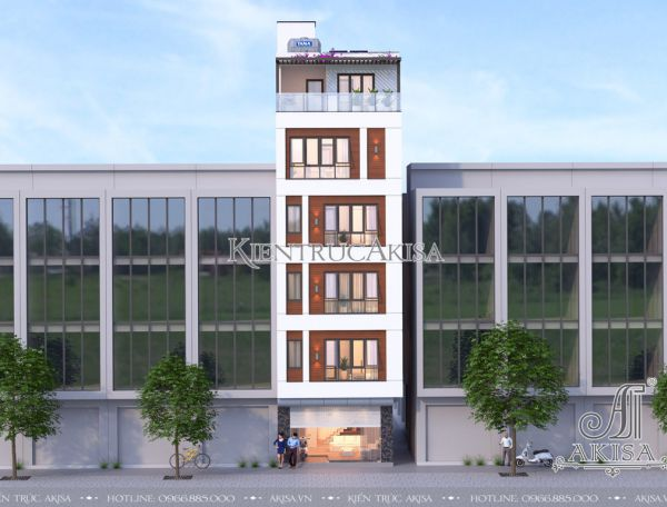 Mẫu thiết kế nhà phố hiện đại 6 tầng (CĐT: bà Na - Hà Nội) KT61035