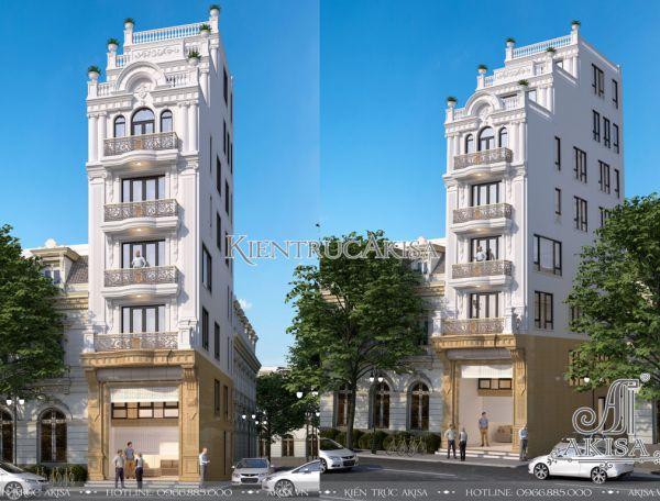 Thiết kế nhà phố tân cổ điển có thang máy KT82268